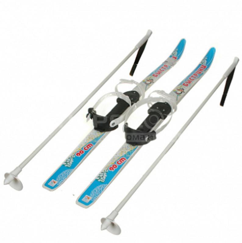 Лыжи детские Быстрики с палками (90 см), Синий
