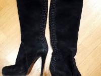 Замшевые женские сапоги prodotto (черные)