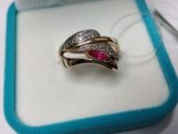 Кольцо с красн камн Золото 585 (14K) вес 4.56 г