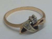 Кольцо с 3-мя белыми камнями Золото 585 (14K) вес 2.16 г