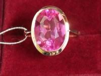 Кольцо с роз. камнем Золото 585 (14K) вес 6.52 г