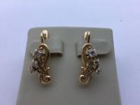 2 шт сережки с мелкими белыми камнями Золото 585 (14K) вес 5.12 г
