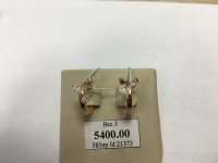 2 шт сережки с мелкими камнями  Золото 585 (14K) вес 3.00 г