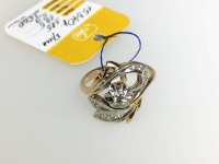 Кольцо цветок,вст.11бр.,б/у,п/ц Золото 585 (14K) вес 5.90 г