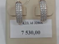 Серьги с камнями деформ.грязн. Золото 585 (14K) вес 4.23 г