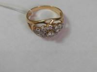 Кольцо с множеством белых камней Золото 585 (14K) вес 3.81 г