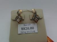 2 шт сережки ,на белом золоте 3 белых камня  Золото 585 (14K) вес 4.90 г