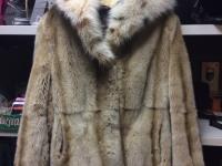 Шуба норка светлая размер 48-52, воротник рысь, №112