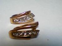 Пара серег с камнями Золото 585 (14K) вес 2.70 г