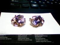 Пара серег с камнями Золото 585 (14K) вес 8.15 г