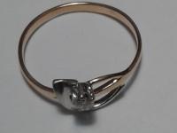Кольцо с бриллиантом Кт (0,03) 1,32х1521=2117 Золото 585 (14K) вес 1.32 г