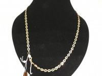 Цепочка плетение скрепка и подвеска продолговатая с мелкими камнями , Золото 585 (14K) вес 9.17 г
