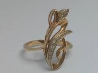 Кольцо с 6-ю белыми камнями Золото 585 (14K) вес 3.94 г