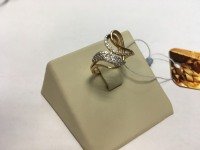 Кольцо с мелкими камнями  Золото 585 (14K) вес 2.58 г