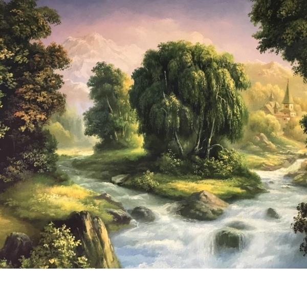 Картина ЗАМОК В ЛЕСУ и река