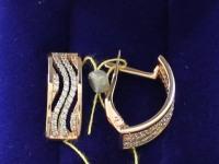 Серьги с камнями   Золото 585 (14K) вес 4.20 г
