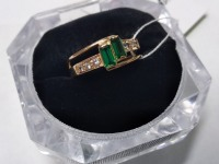 Кольцо с изумрудами и фианит Золото 585 (14K) вес 3.11 г
