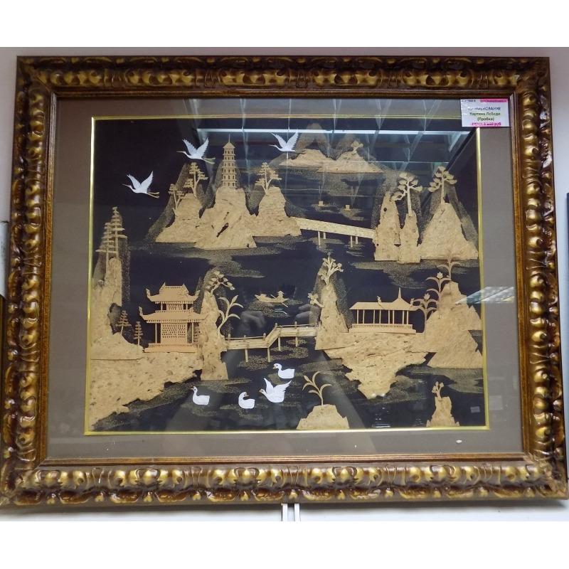 Картина из пробкового дерева «Лебеди»