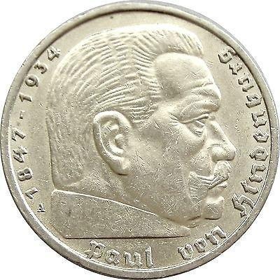 Монета серебряная, 5 Reichsmark 1936 Hindenburg, серебро 925, вес 13.80 г.