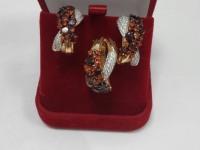 Комплект: серьги + кольцо вставки  Золото 585 (14K) вес 13.34 г
