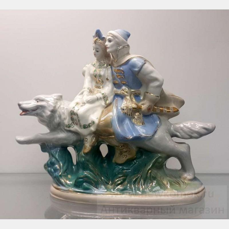 Фарфоровая статуэтка Иван царевич на сером волке