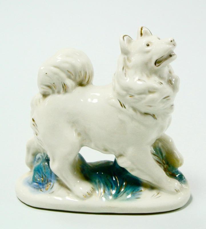 Статуэтка фарфоровая Лайка Собака. Фарфор Гжель 1950 годы