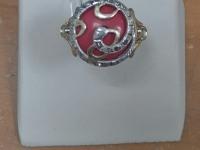Кольцо с крас.и бел.камн. деф. Золото 585 (14K) вес 6.87 г