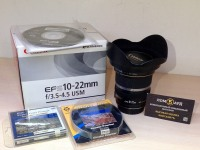 Объектив Canon EFS10-22mm+Бленда Canon EW-83E, коробка, установочный диск+Светофильтр Marumi DHG Super Lens Protect 77mm+Светофильтр Marumi Circular Polarizer 77mm