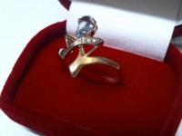 Кольцо с 3 бриллиантами и топазом Золото 585 (14K) вес 2.39 г