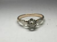 Кольцо с бриллиантом  Золото 583 вес 3.15 г