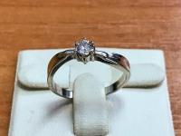 Кольцо  с Бриллиантом  0.25 Ct в белом золоте Золото 585 (14K) вес 2.29 г