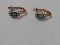 Серьги с синим и множеством белых камней Золото 585 (14K) вес 2.52 г