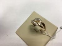 Кольцо с мелкими белыми камнями Золото 585 (14K) вес 2.45 г