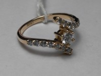 Кольцо с 15-ю бриллиантами Золото 585 (14K) вес 2.38 г