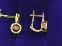 Серьги с камнями   Золото 585 (14K) вес 3.16 г
