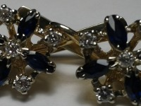 Серьги с 10-ю бриллиантами и 8-ю топазами 0,51к Золото 585 (14K) вес 9.29 г