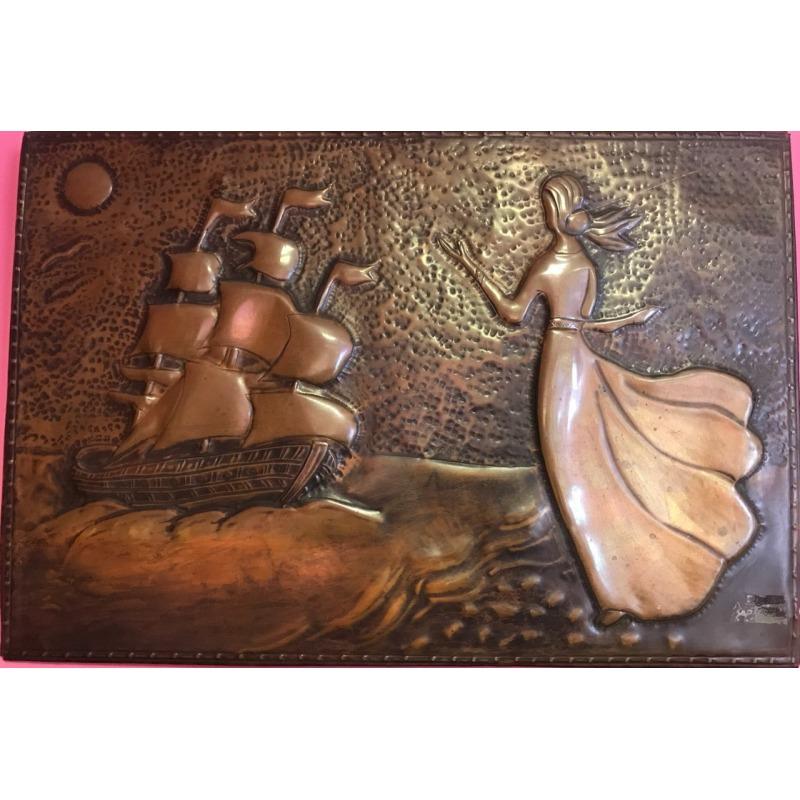 Картина чеканка девушка и корабль