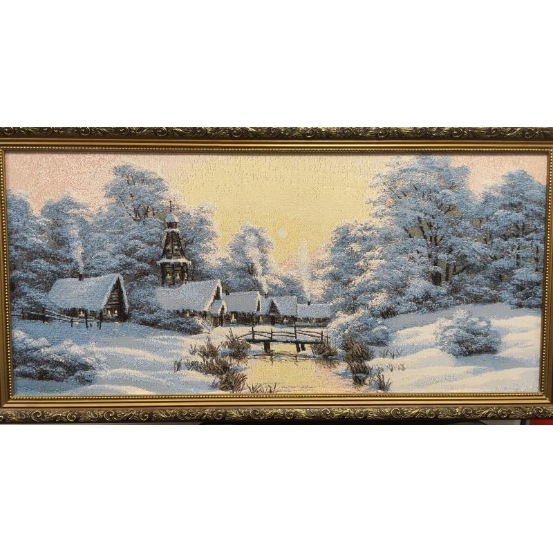 Картина гобелен «Зима в деревне»