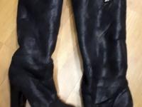 Сапоги меховые женские зимние (черный цвет)