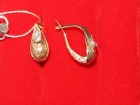 Серьги с белыми камнями. Золото 585 (14K) вес 2.93 г