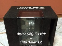 Сабвуфер ALPINE SBG-1244BP+усилитель Helix X-Max 4.2