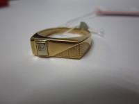 Печатка с бриллиантом(+1000) Золото 585 (14K) вес 2.11 г