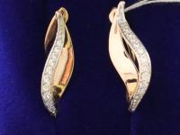 Серьги 1 пара с камнями. Золото 585 (14K) вес 6.10 г