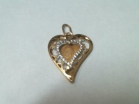 Подвеска сердце с камнями Золото 585 (14K) вес 1.64 г