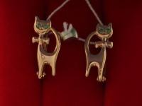 Серьги (кошки) Золото 585 (14K) вес 1.90 гр.