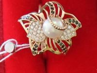Кольцо с жемчугом и фианит. Золото 585 (14K) вес 4.45 г