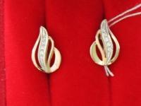 Серьги 1 пара с камнями. Золото 585 (14K) вес 3.25 г