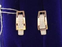Серьги 1 пара с камнями. Золото 585 (14K) вес 4.17 г