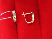 Серьги с камнями. Золото 585 (14K) вес 0.98 г