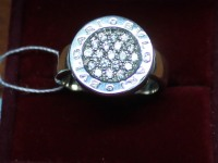 Кольцо с белыми камнями. Серебро 925 вес 7.76 г